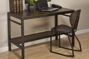 Espresso Table Desk with 2 Position Chair